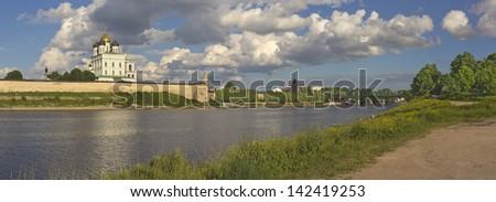 Panoramic view of Pskov Kremlin and Velikaya (Great) River - stock photo