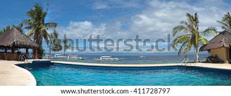 Panoramic view of public water pool at Balicasag island of Philippines - stock photo