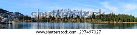 panoramic view of Queenstown, queenstown adventure capital of the world, New Zealand - stock photo