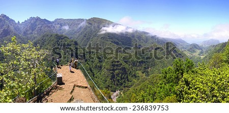 Panoramic view of rainforest hills on Madeira island, Portugal - stock photo