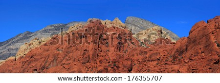 Panoramic view of Red Rock Canyon National Conservation Area - stock photo
