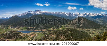 Panoramic view of Rocky mountains from Prospect Mountain, Estes Park, Colorado, USA - stock photo