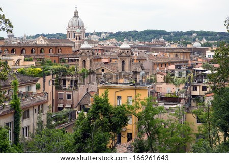 Panoramic view of Rome from Borghese park - stock photo