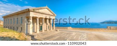 Panoramic view of Saint George Church, Old Corfu - stock photo