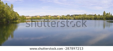 Panoramic view of Salish Pond lake in Fairview Oregon. - stock photo