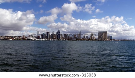Panoramic view of San Diego Skyline - stock photo