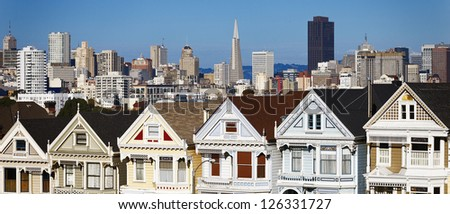 panoramic view of San Francisco from Alamo Square, San Francisco - stock photo