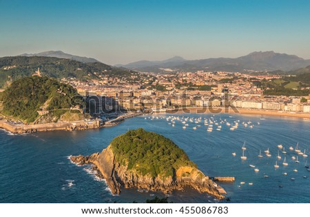Panoramic view of San Sebastian in Basque country Spain - stock photo