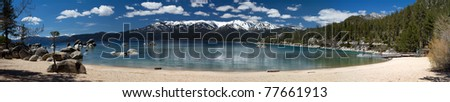 panoramic view of Sand Harbor, Lake Tahoe - stock photo