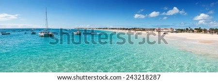 Panoramic view of Santa Maria beach in Sal Cape Verde - Cabo Verde - stock photo