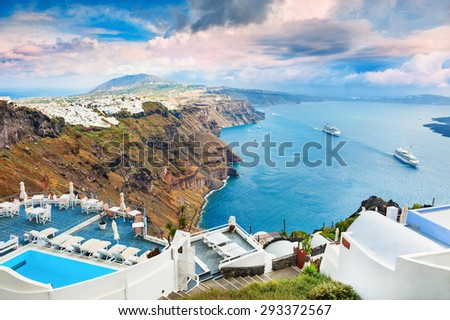 Panoramic view of Santorini island, Greece. Beautiful summer landscape - stock photo