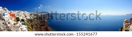 Panoramic view of Santorini village and volcanic bay, Greece - stock photo