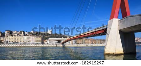 Panoramic view of Saone river at Lyon, France - stock photo