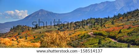 Panoramic view of scenic landscape in Colorado - stock photo