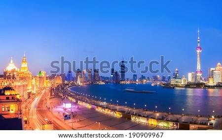 panoramic view of shanghai in a beautiful nightfall ,China  - stock photo
