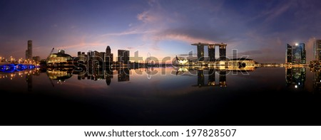 Panoramic view of Singapore at the colorful dusk - stock photo