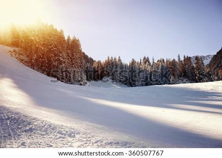 Panoramic view of ski resort - stock photo