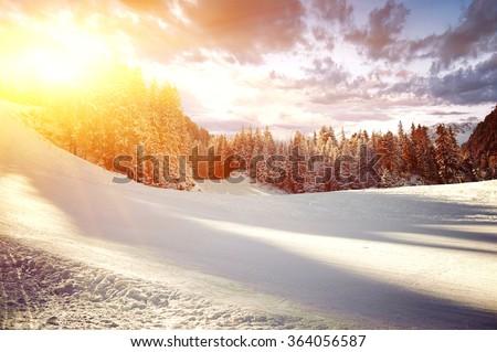 Panoramic view of ski resort. BANSKO, BULGARIA  - stock photo