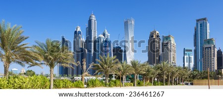 Panoramic view of skyscrapers and jumeirah beach in Dubai. UAE  - stock photo