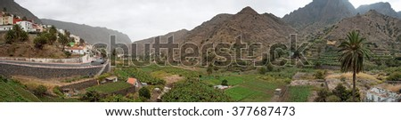 Panoramic view of small village with plantation fields on La Gomera, Canary Islands, Spain - stock photo