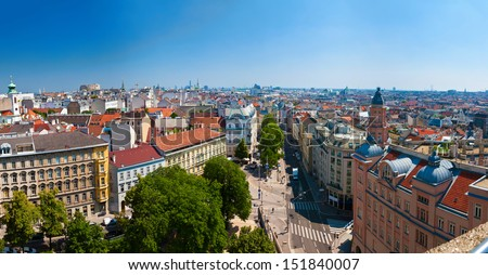 panoramic view of some districts of Vienna from the House of the Sea - stock photo