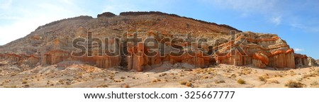 Panoramic view of some of the rock formations in the Red Rock area of California - stock photo