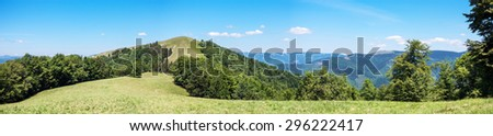 Panoramic view of spring mountains with forest under blue sky - Svydovets range, Carpathians, West Ukraine - stock photo
