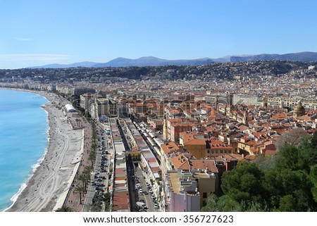 Panoramic view of spring Nice coastline and old town, French Riviera - stock photo
