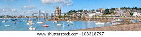 Panoramic view of St Malo, Brittany, France - stock photo