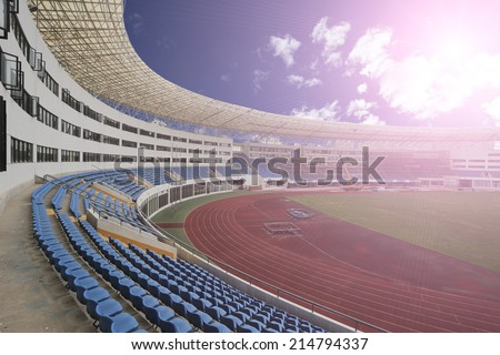panoramic  view of stadium,empty with people - stock photo