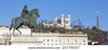 Panoramic view of Statue  and Basilica on a background, Lyon, France. - stock photo