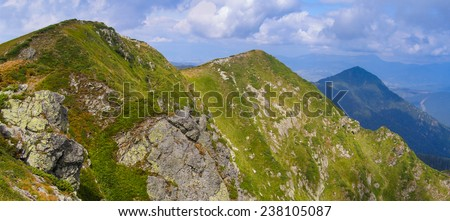 Panoramic view of summer landscape in mountains, yellow and green grass, the blue sky with clouds. Carpathians, Europe. - stock photo