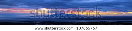 panoramic view of sunset over Anchorage, Alaska - stock photo