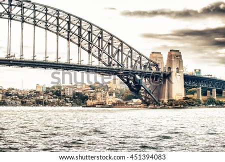 Panoramic view of Sydney Harbour at twilight - NSW, Australia. - stock photo