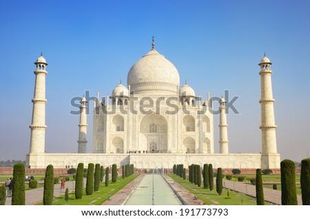 Panoramic view of Taj Mahal in Agra, India. - stock photo