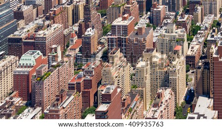 Panoramic view of tall crowded buildings in Manhattan, New York City - stock photo