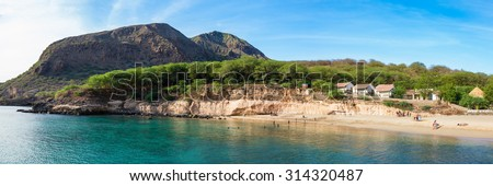 Panoramic view of Tarrafal beach in Santiago island in Cape Verde - Cabo Verde - stock photo