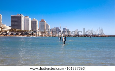 Panoramic view of Tel-Aviv from one of the many beaches on Mediterranean sea. Israel - stock photo