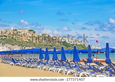 Panoramic view of the Adriatic sea in the Apulia region - stock photo