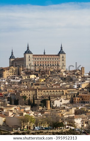 Panoramic view of the Alcazar fortress in Toledo, Spain - stock photo