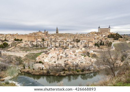 Panoramic view of the ancient city of Toledo, Tagus River. Spain - stock photo