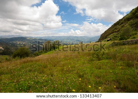 Panoramic view of the Andes Mountains from atop Cojitambo, located near Cuenca, Ecuador. - stock photo