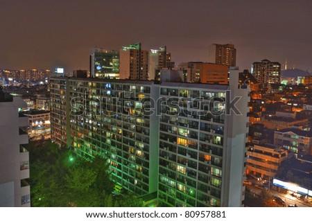panoramic view of the apartment buildings in seoul korea - stock photo