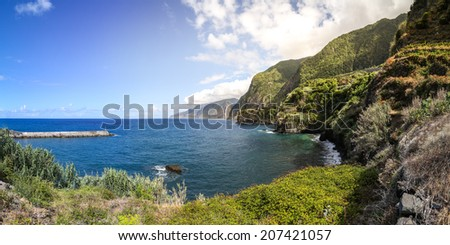 Panoramic view of the bay of Seixal in Madeira - stock photo