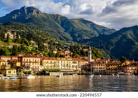 Panoramic view of the beautiful old Italian town of Bellagio, Lake Como Italy. European travel, vacation, and life style concept - stock photo