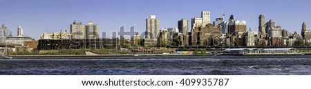Panoramic view of the Brooklyn skyline seen from Manhattan, New York City - stock photo