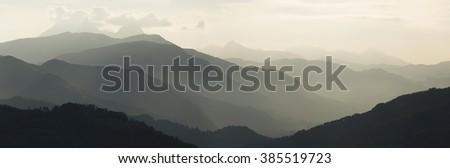 Panoramic view of the Carrara Mountains Tuscany, source of the famous Italian Carrara marble - stock photo
