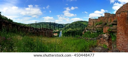 panoramic view of the castle Lutzelbourg to the Rhine-Marne canal, France  - stock photo