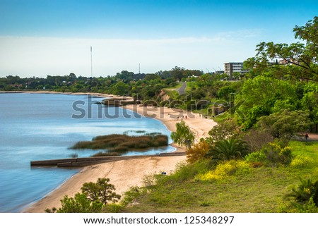 Panoramic view of the coast of Colonia del Sacramento, Uruguay - stock photo