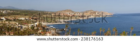 Panoramic view of the coastline at Cabo San Lucas, Mexico.  9 pictures were used to make this large image - stock photo